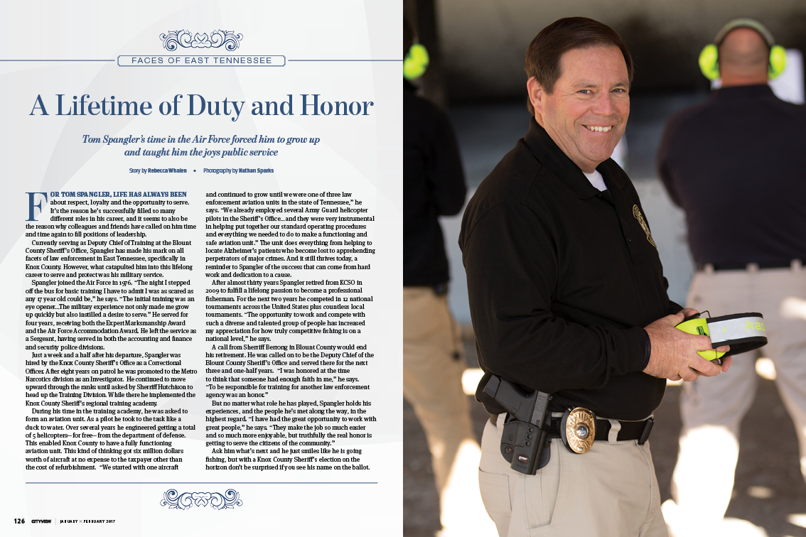 "Tom Spangler honored in Cityview magazine for ""A Lifetime of Duty and Honor"""
