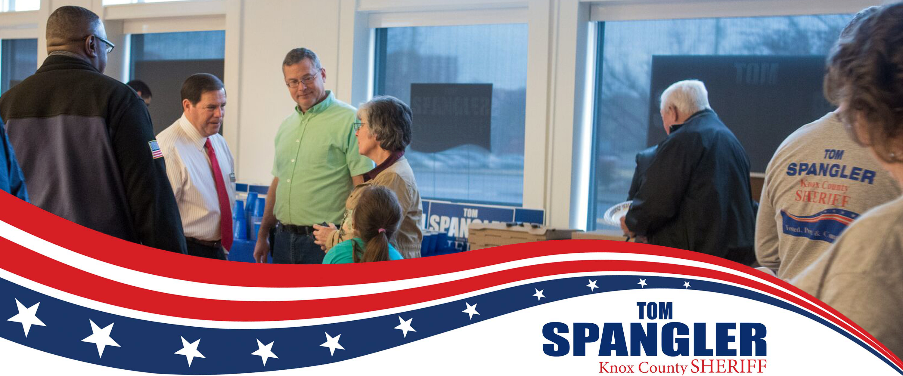 Tom Spangler Talks with Supporters at Campaign Headquarters