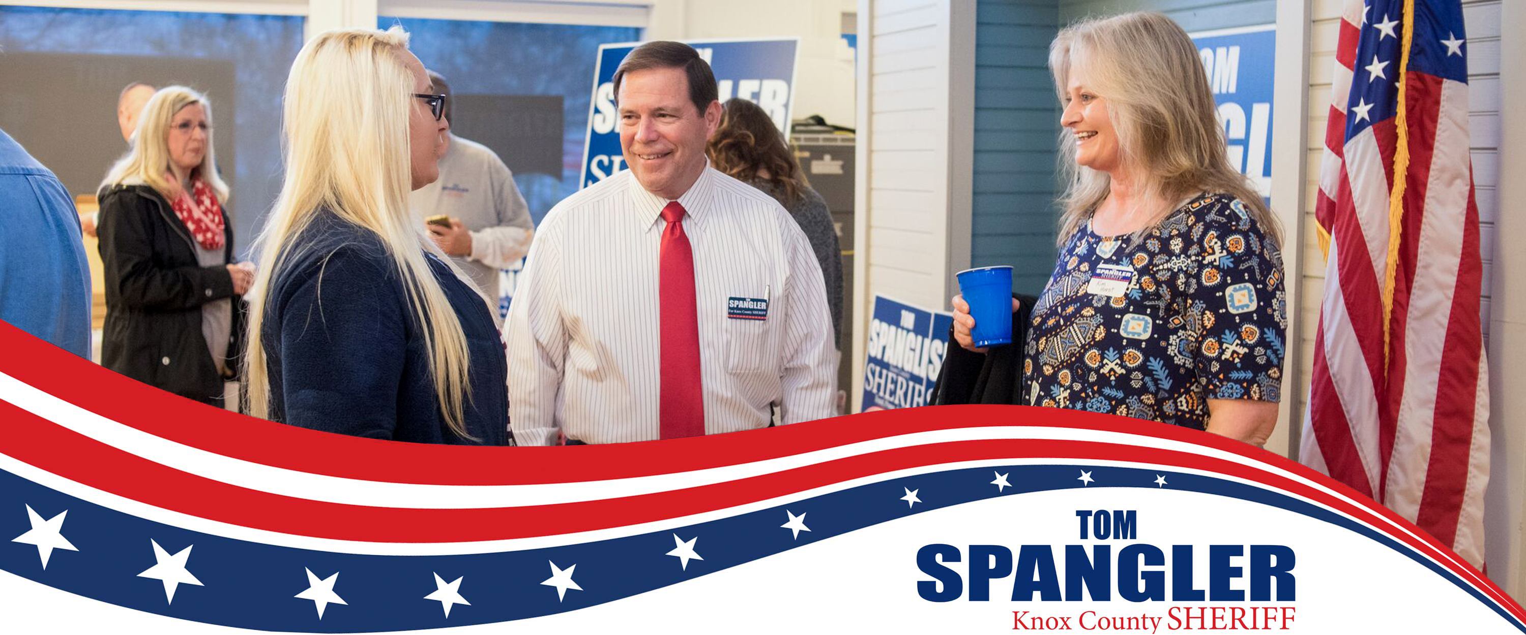 Tom Spangler Visits with Supporters at Campaign Headquarters