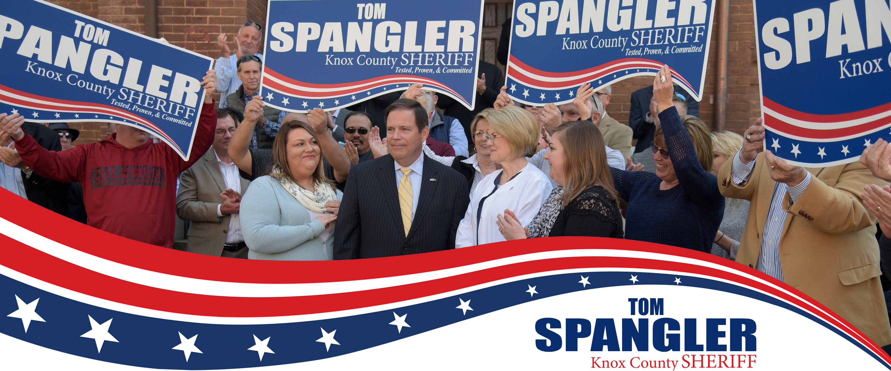 Tom Spangler Surrounded by Supporters at the Campaign Kickoff